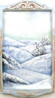 "Palouse Winter - Acrylic and wall putty on recycled wooden ""art frame"" from the 1960s"
