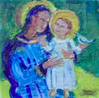 "Madonna and Child, encaustic on canvas panel, 6"" x 6"""