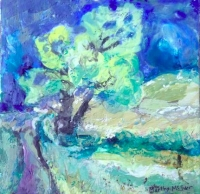 """Tree from 30-30-30, encaustic on canvas panel, 6"""" x 6"""""""