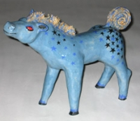 "Star Pony, hand built slab construction ceramic, 14""x12"""