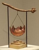 "Gone West, copper enamel, drift wood, wood and stone; 18""x12"""